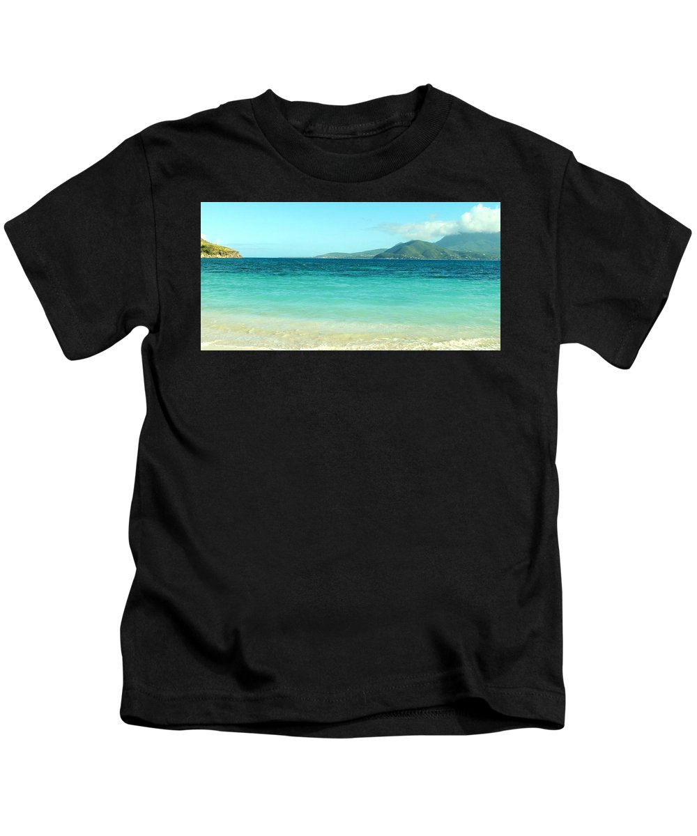 St Kitts Kids T-Shirt featuring the photograph White Sand Blue Sky Blue Water by Ian MacDonald