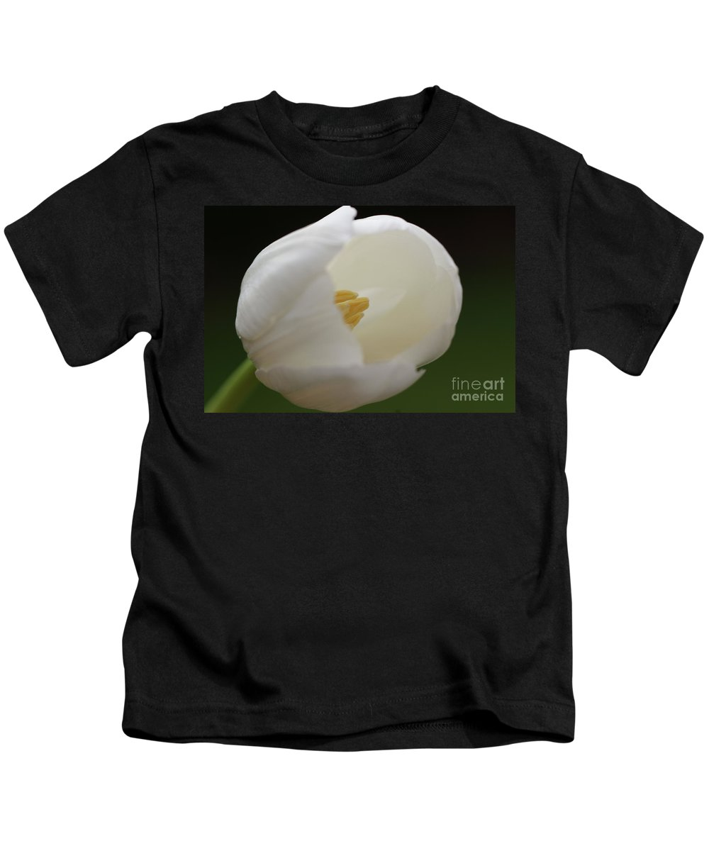 White Kids T-Shirt featuring the photograph White Tulip 5 by Carol Lynch