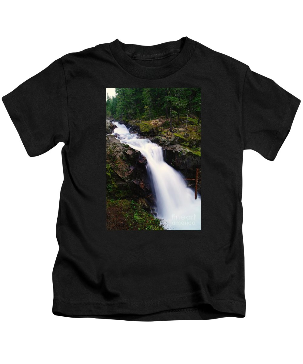 Waterfalls Kids T-Shirt featuring the photograph White Water Falling by Jeff Swan