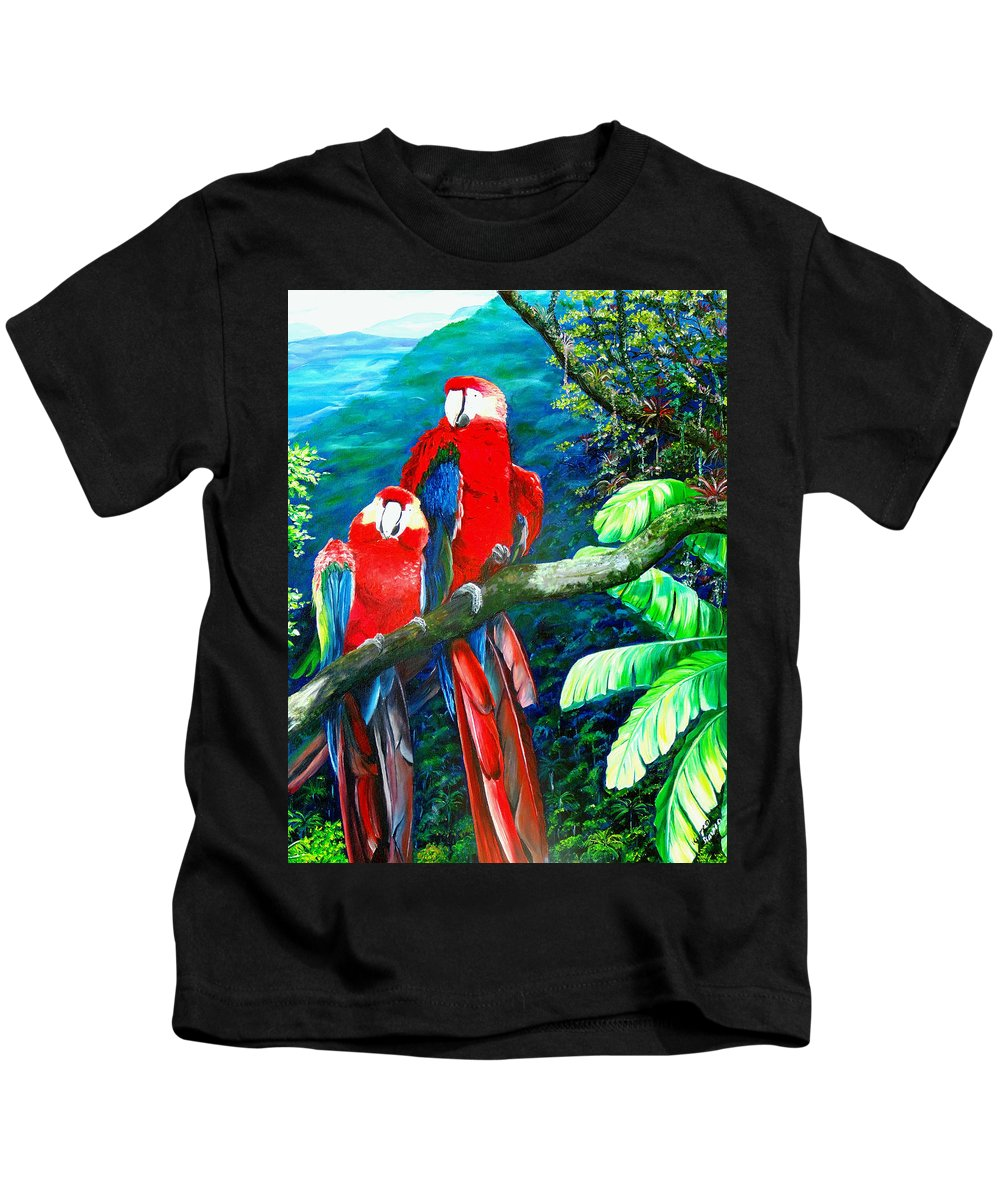 Caribbean Painting Green Wing Macaws Red Mountains Birds Trinidad And Tobago Birds Parrots Macaw Paintings Greeting Card  Kids T-Shirt featuring the painting Who Me  by Karin Dawn Kelshall- Best