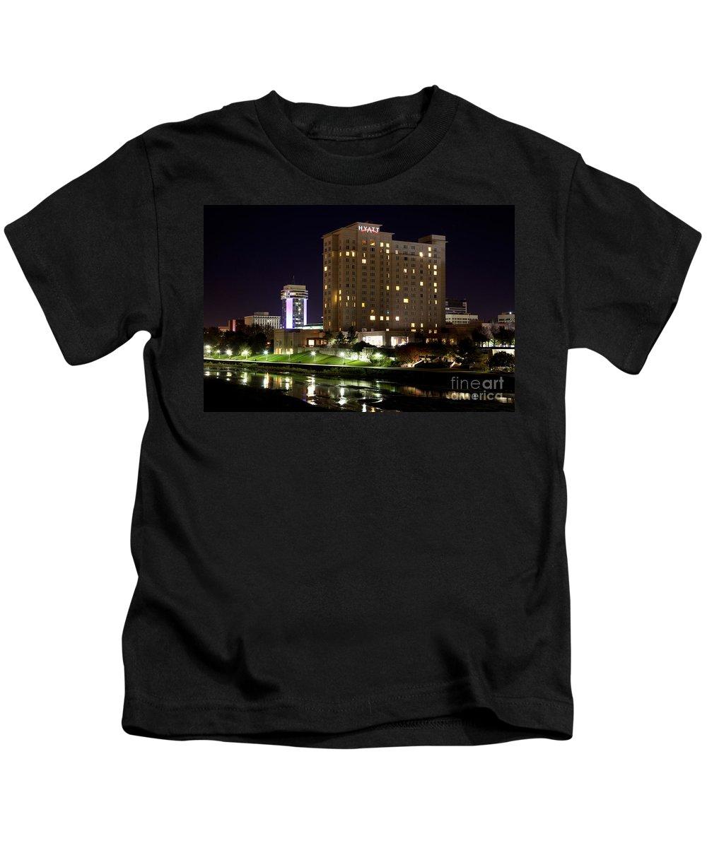 Arkansas River Kids T-Shirt featuring the photograph Wichita Hyatt Along The Arkansas River by Bill Cobb