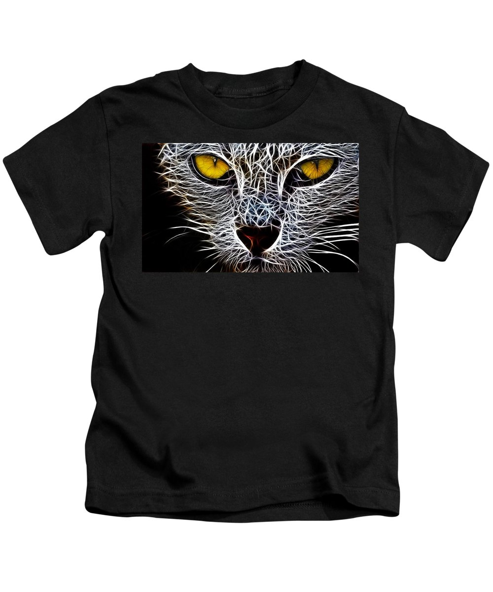 Cat Wild Painting Digital Yellow Eyes Abstract Dangerous Killer Animal Face Kids T-Shirt featuring the digital art Wild Cat by Steve K