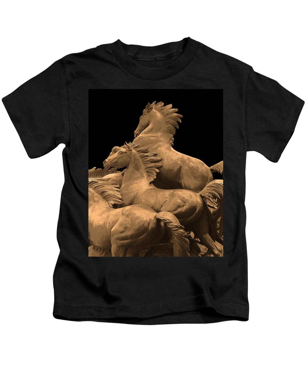 Horses Kids T-Shirt featuring the photograph Wild Mustang Statue I I I by Jim Smith
