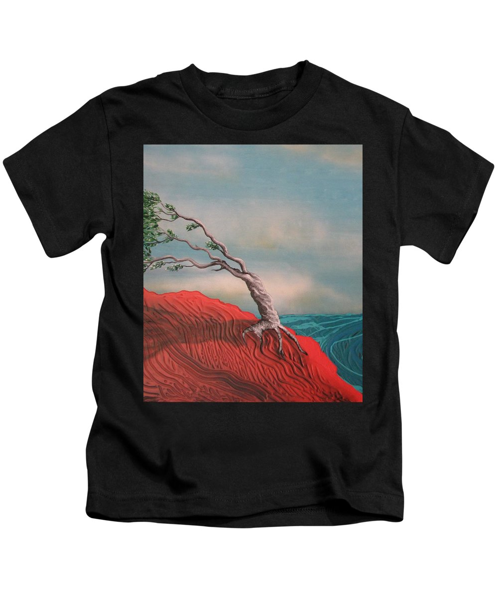 Wind Swept Tree Kids T-Shirt featuring the painting Wind Swept Tree by Joan Stratton
