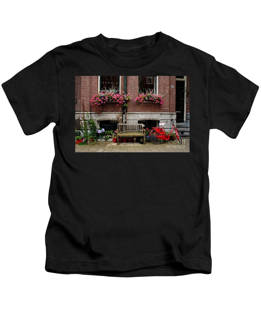 Amsterdam Kids T-Shirt featuring the photograph Window Box Bicycle And Bench -- Amsterdam by Thomas Marchessault