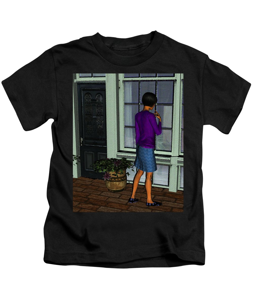 Woman Shopping Kids T-Shirt featuring the digital art Window Shopper by Judi Suni Hall