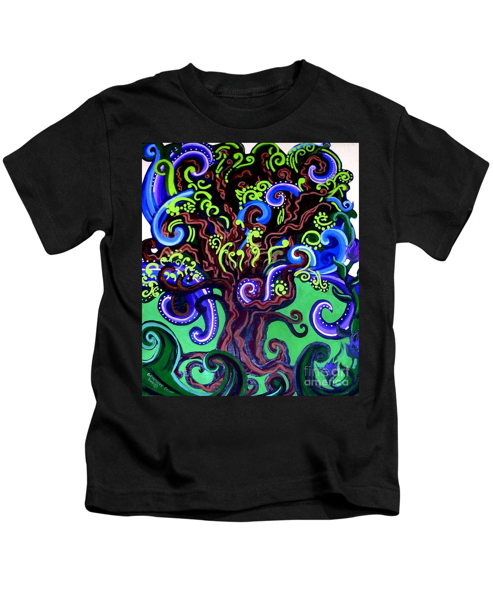 Tree Kids T-Shirt featuring the painting Windy Blue Green Tree by Genevieve Esson