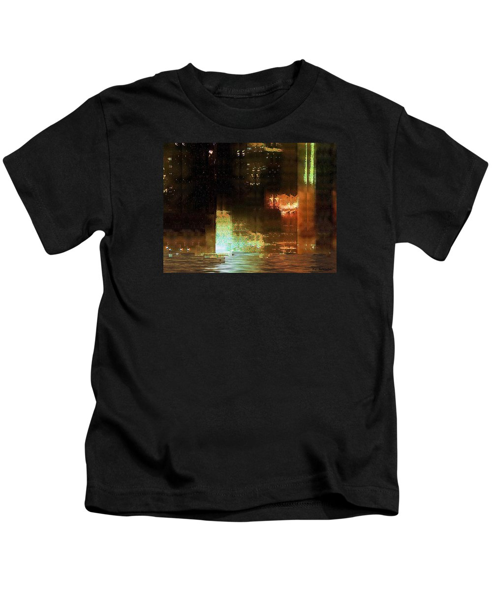 Abstract Kids T-Shirt featuring the painting Windy City Night by RC DeWinter
