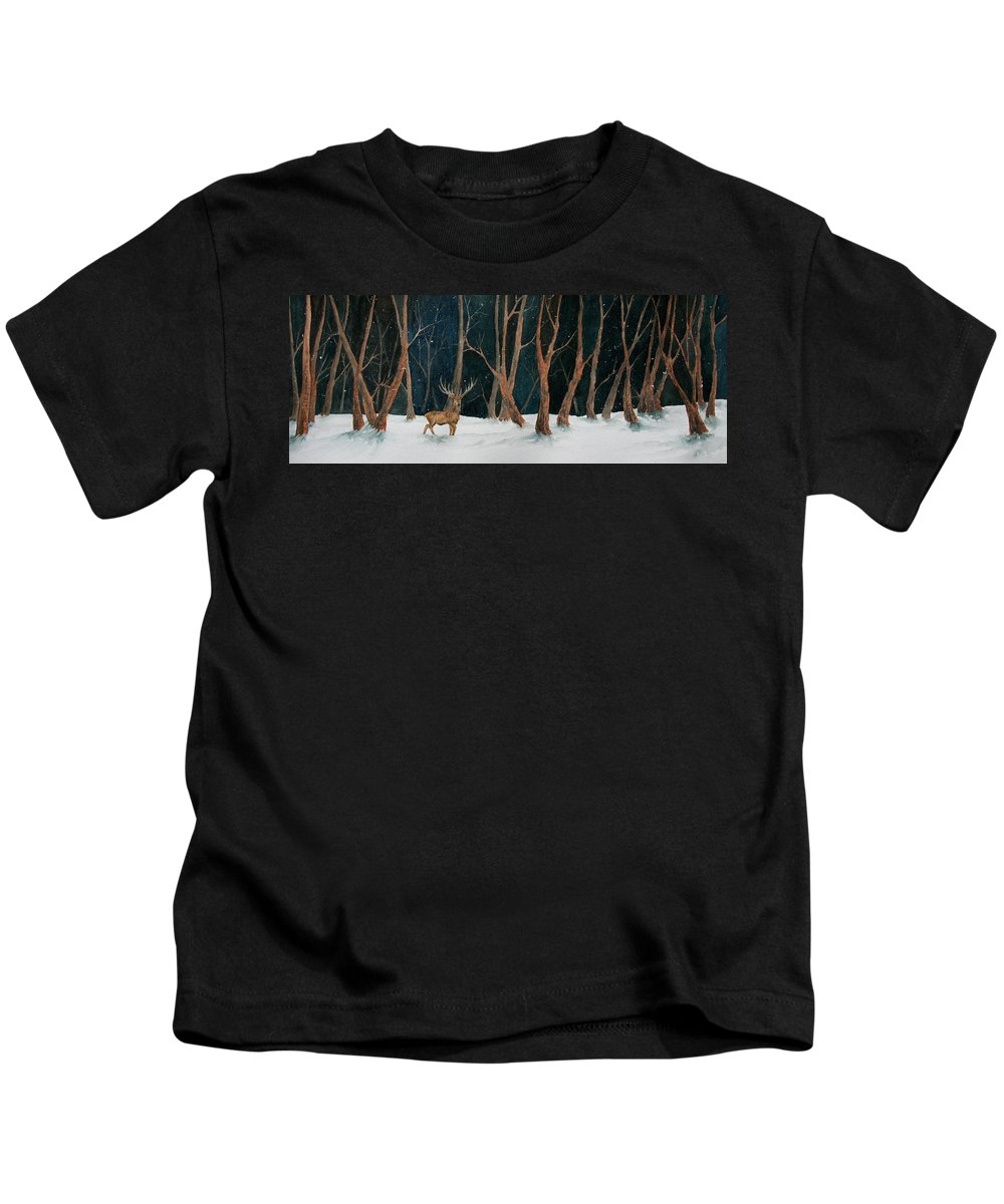 Winter Kids T-Shirt featuring the painting Winter Deer by Rebecca Davis