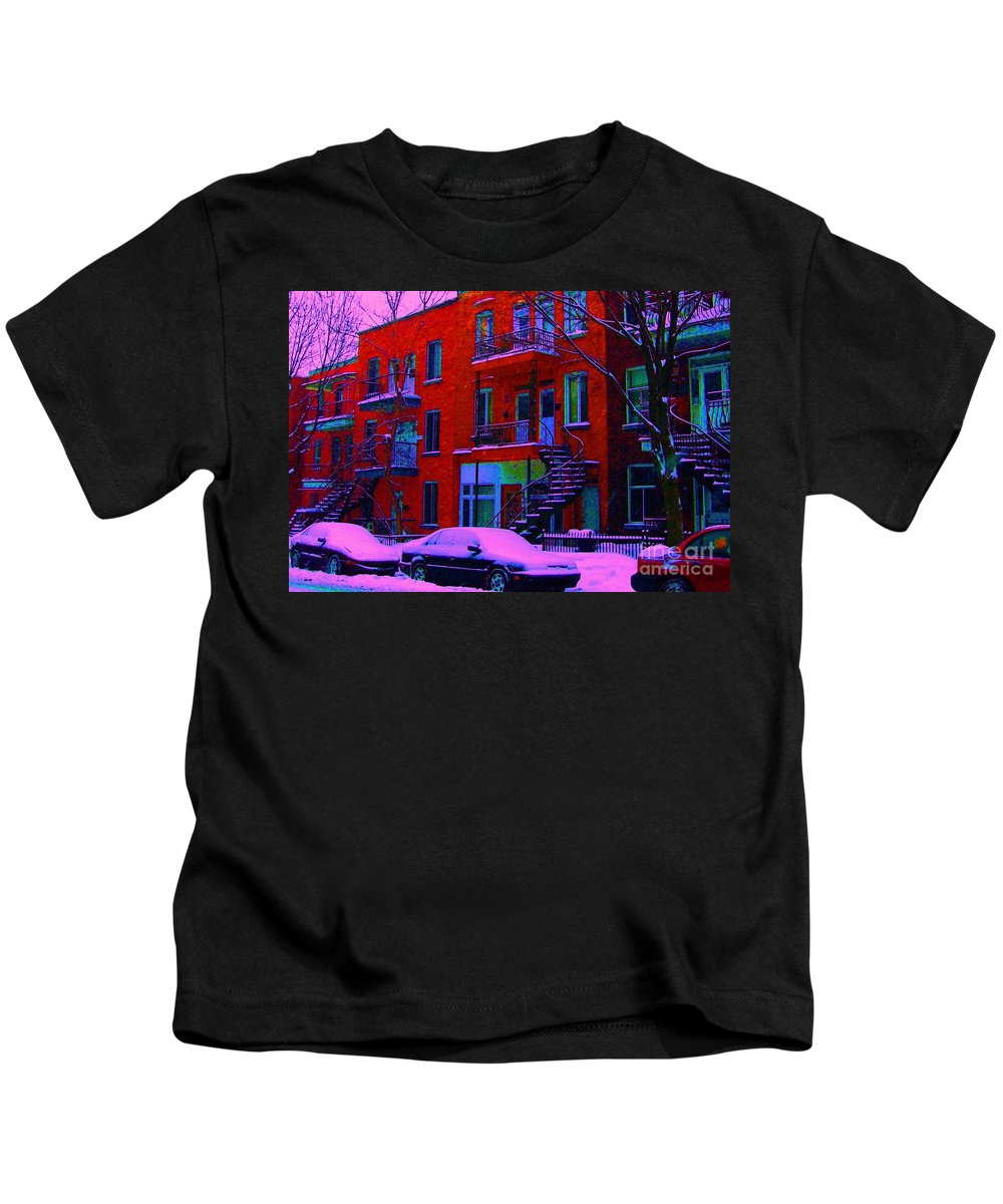 Montreal Kids T-Shirt featuring the photograph Winter Staircases Two by Carole Spandau