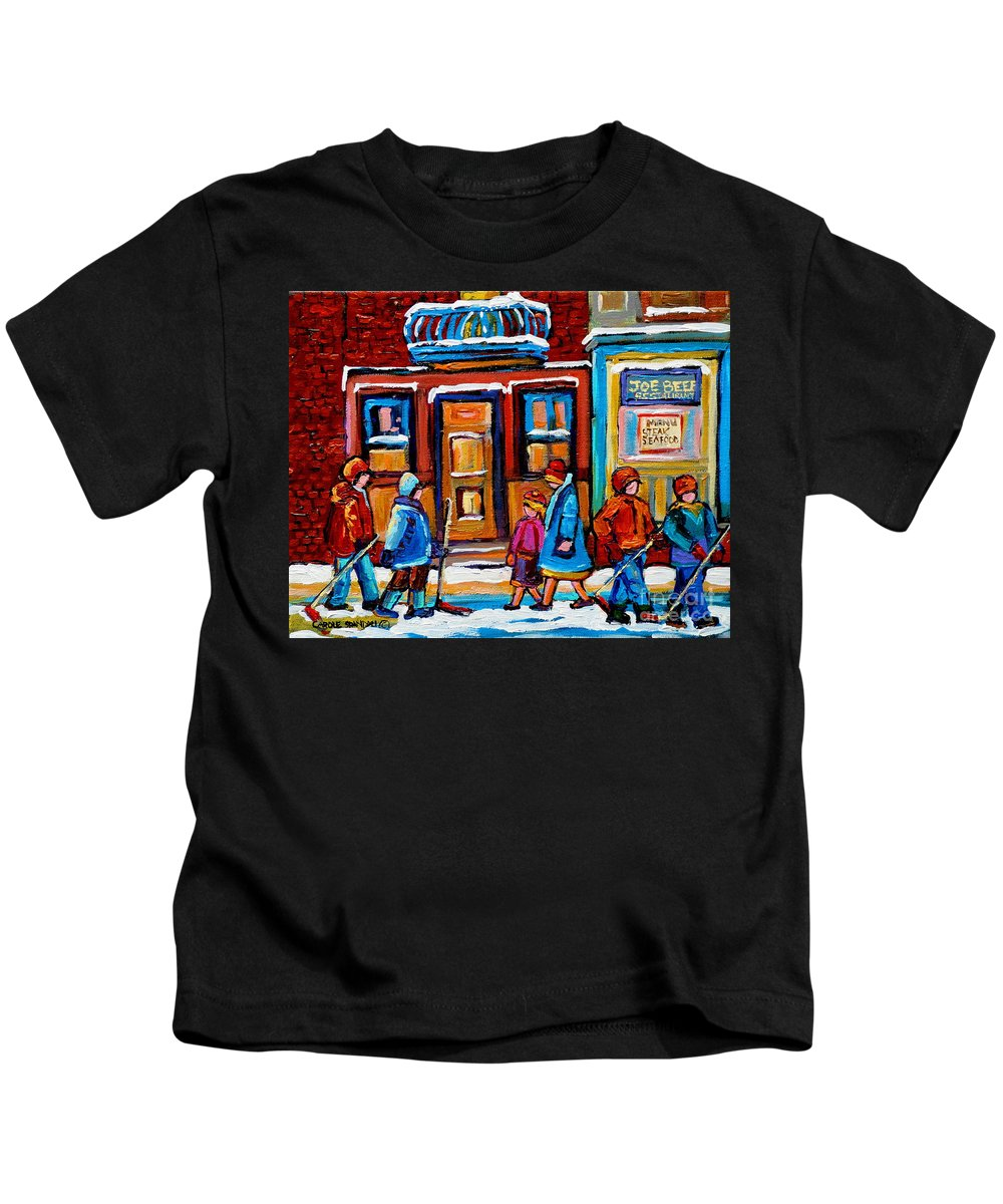 Montreal Kids T-Shirt featuring the painting Winter Street In Saint Henri by Carole Spandau