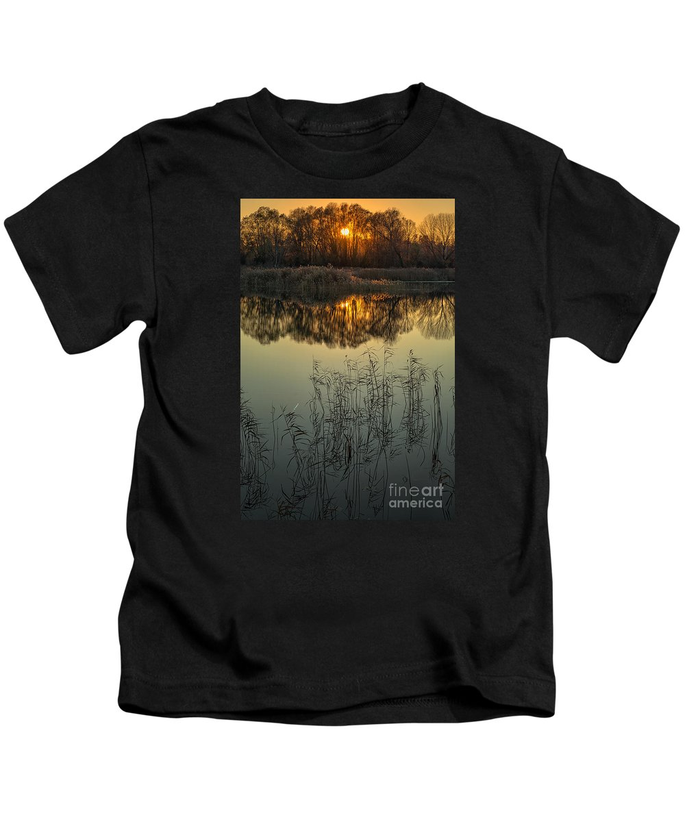Sunset Kids T-Shirt featuring the photograph Winter Sunset Reflection by Giordano Aita