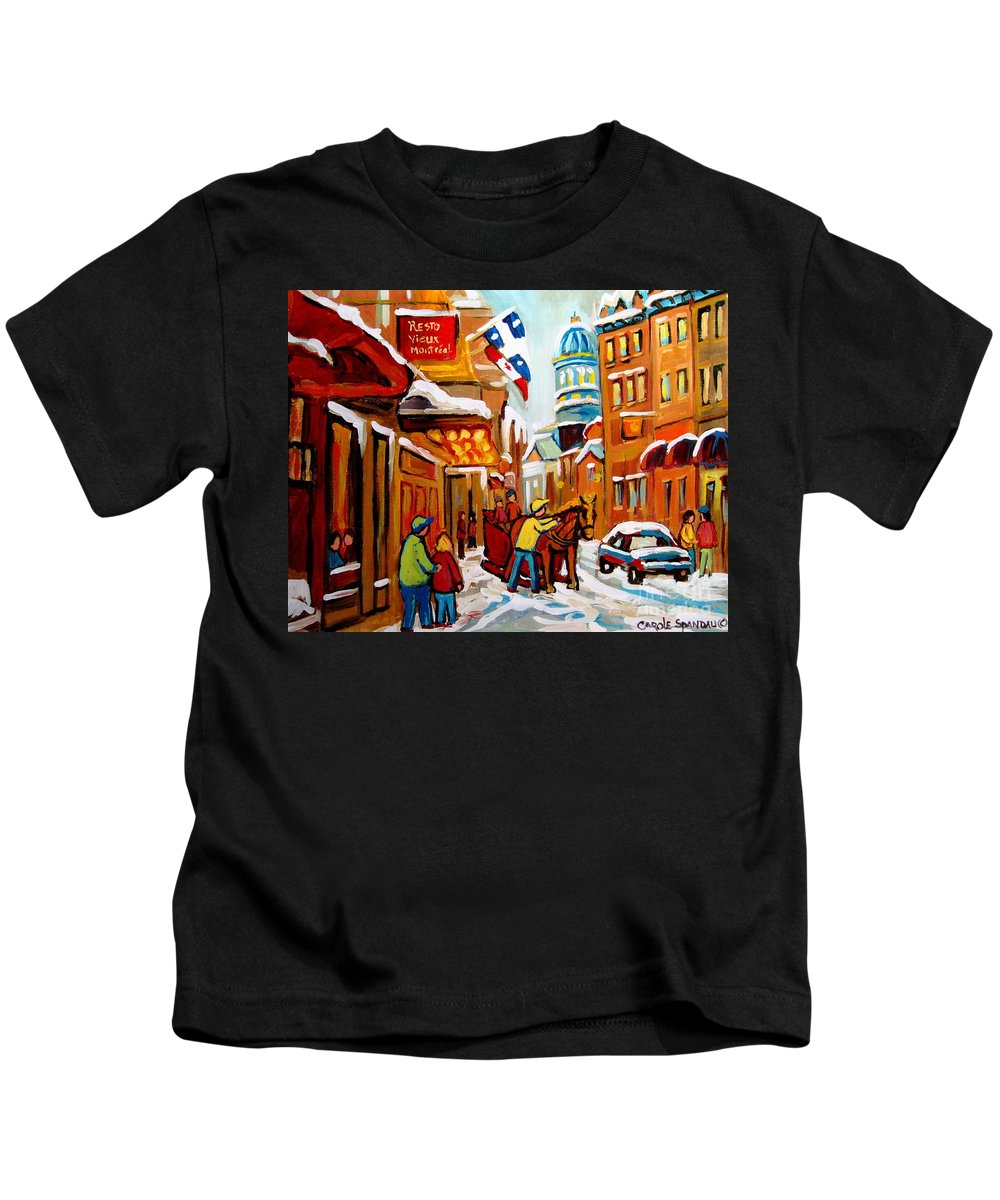 Montreal Kids T-Shirt featuring the painting Winter Walk Montreal by Carole Spandau