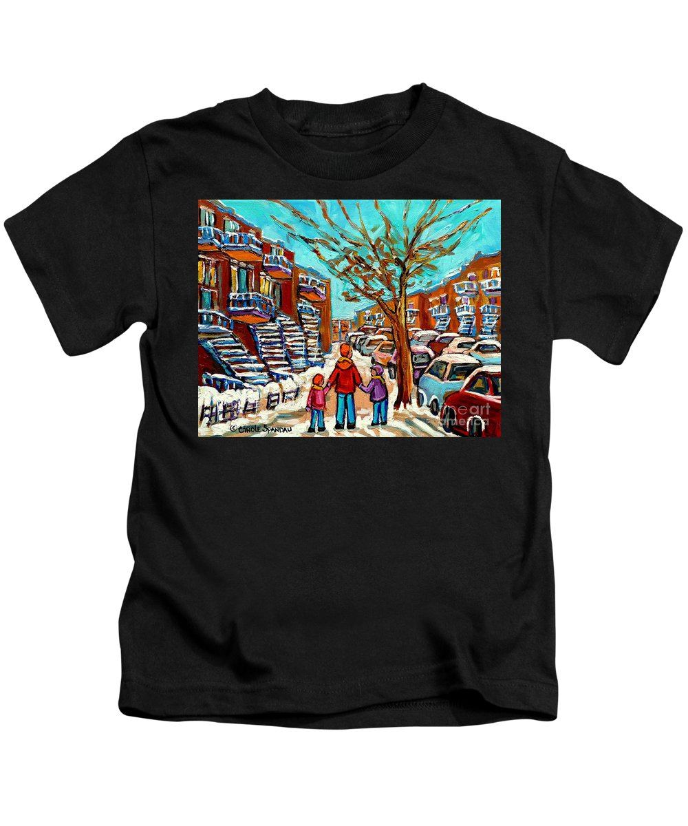 Montreal Kids T-Shirt featuring the painting Winter Walk Montreal Paintings Snowy Day In Verdun Montreal Art Carole Spandau by Carole Spandau