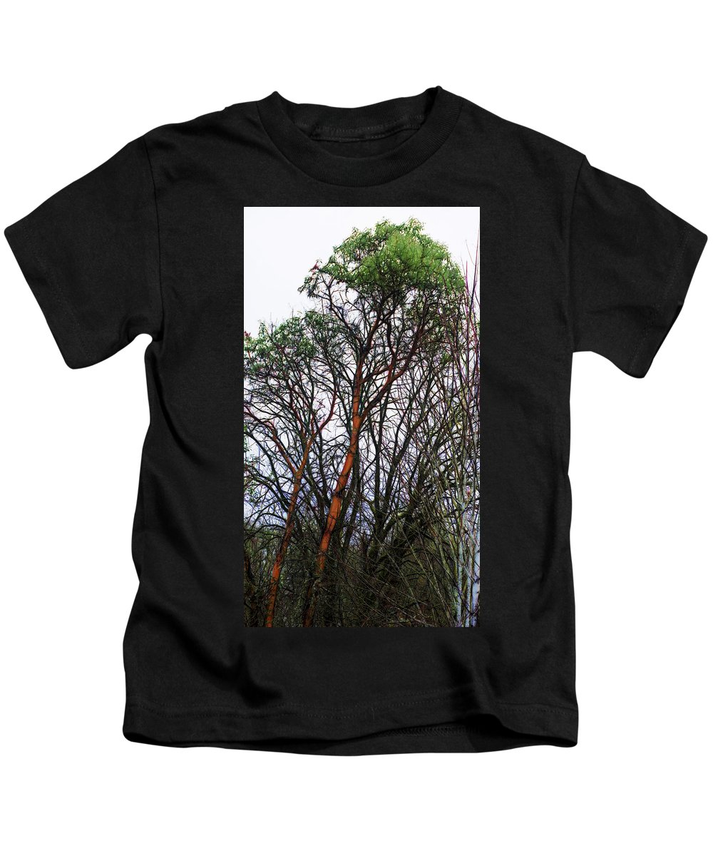 Kids T-Shirt featuring the digital art Winters Trees by Cathy Anderson