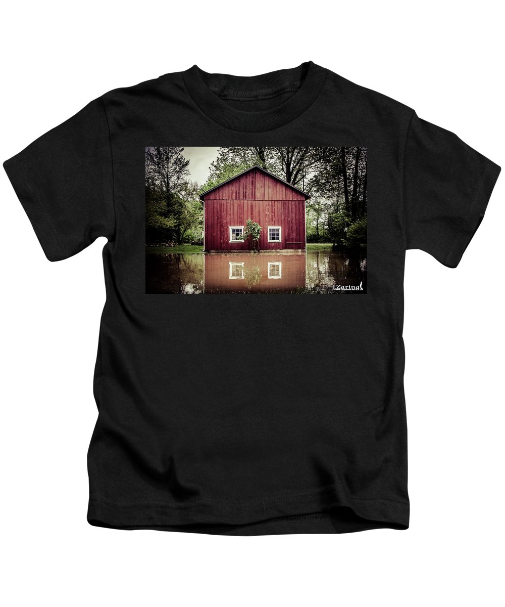 Red Barn Kids T-Shirt featuring the photograph Wise Old Barn Flood by Joshua Zaring