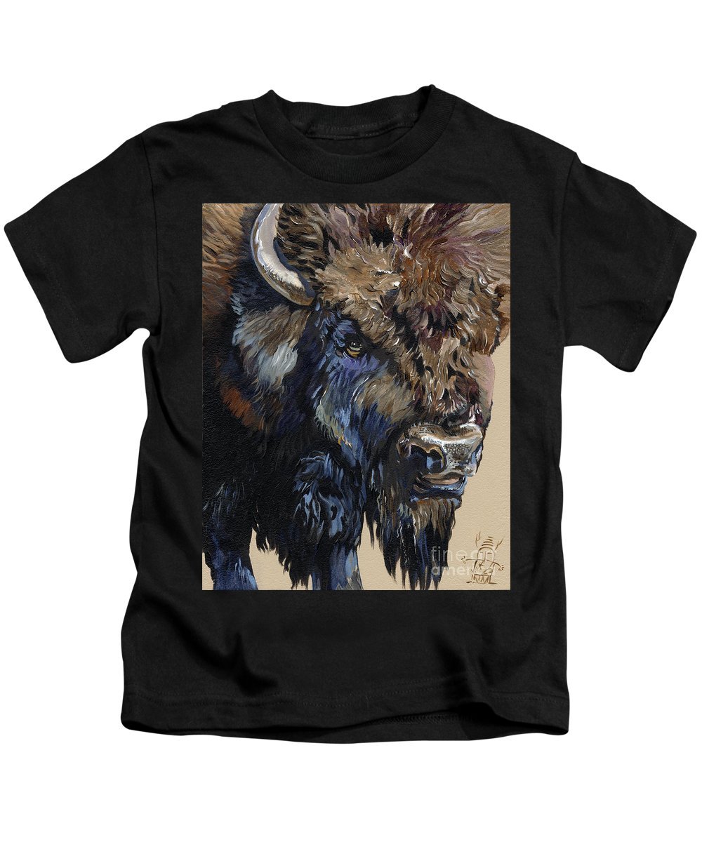 Bison Kids T-Shirt featuring the painting Wise Plains Drifter by J W Baker
