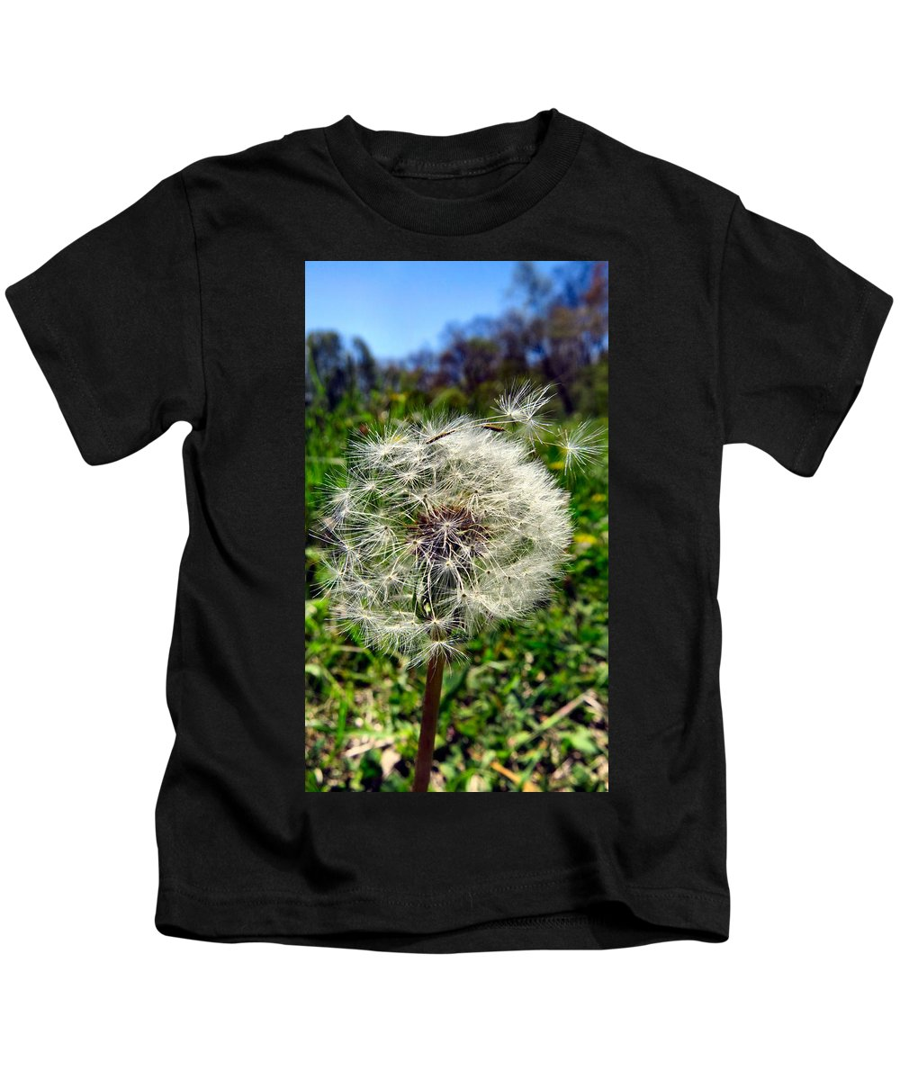 Dandelion Kids T-Shirt featuring the photograph Wish I May by Art Dingo
