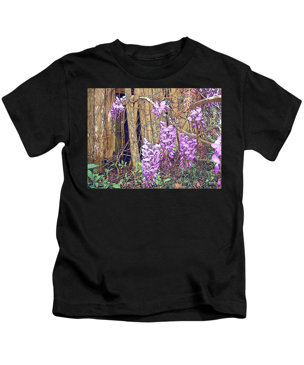 Rebecca Korpita Kids T-Shirt featuring the photograph Wisteria And Old Fence by Rebecca Korpita