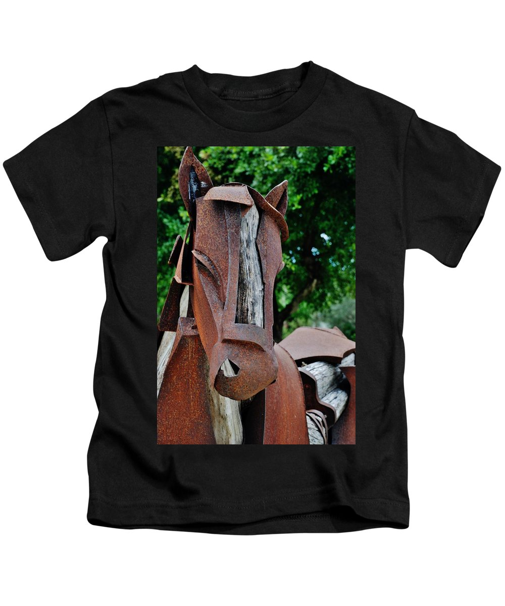 Horse Kids T-Shirt featuring the photograph Wooden Horse15 by Rob Hans