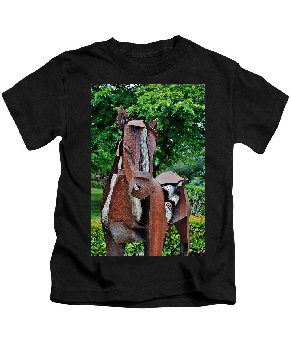 Horse Kids T-Shirt featuring the photograph Wooden Horse16 by Rob Hans