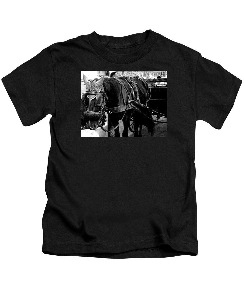 Field Kids T-Shirt featuring the photograph Working Horse by FL collection