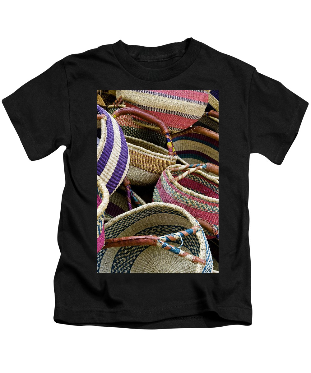 Market Day Apt Markets Shopping Basket Baskets Still Life Shop Shops Store Stores Provence Kids T-Shirt featuring the photograph Woven Baskets by Bob Phillips