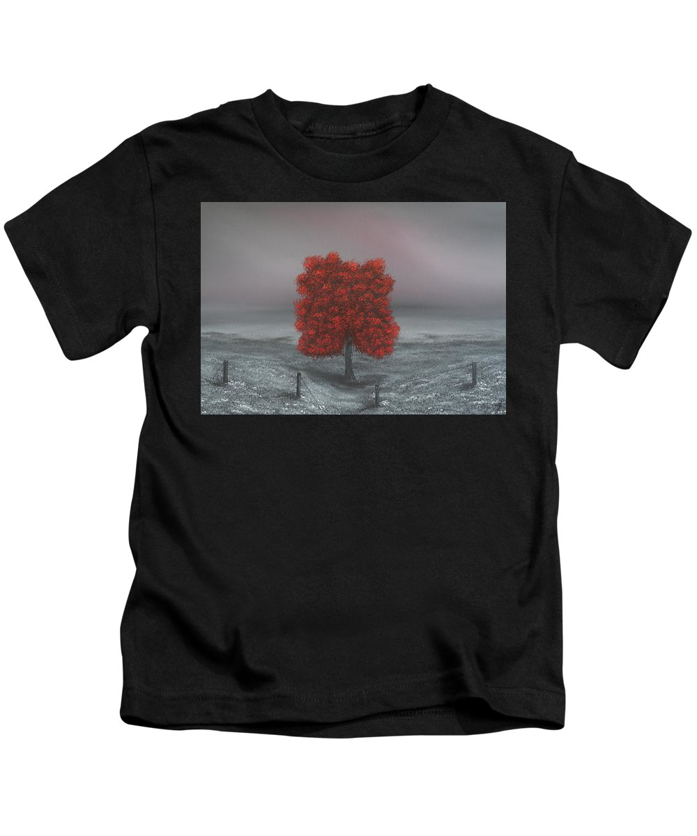 Large Landscape Painting Kids T-Shirt featuring the painting Wrapped In Red by Dawn Richards