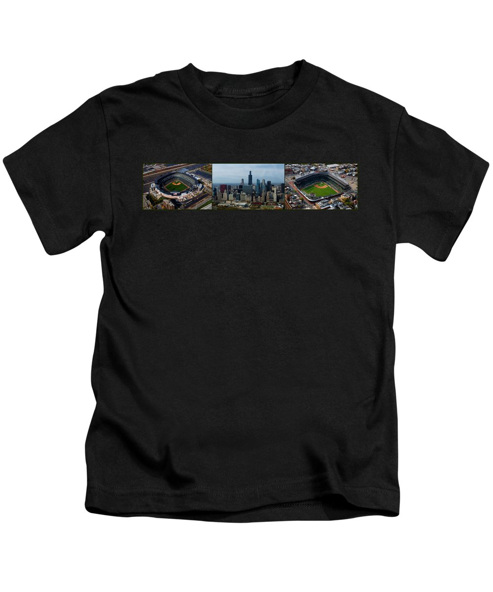 White Sox Kids T-Shirt featuring the photograph Wrigley And Us Cellular Fields Chicago Baseball Parks 3 Panel Composite 01 by Thomas Woolworth
