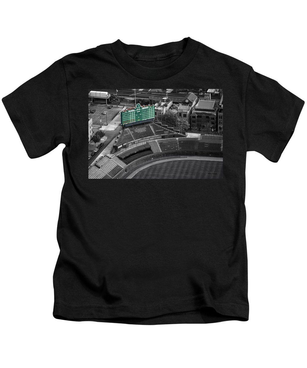 Chicago Cubs Kids T-Shirt featuring the photograph Wrigley Field Chicago Sports 04 Selective Coloring by Thomas Woolworth