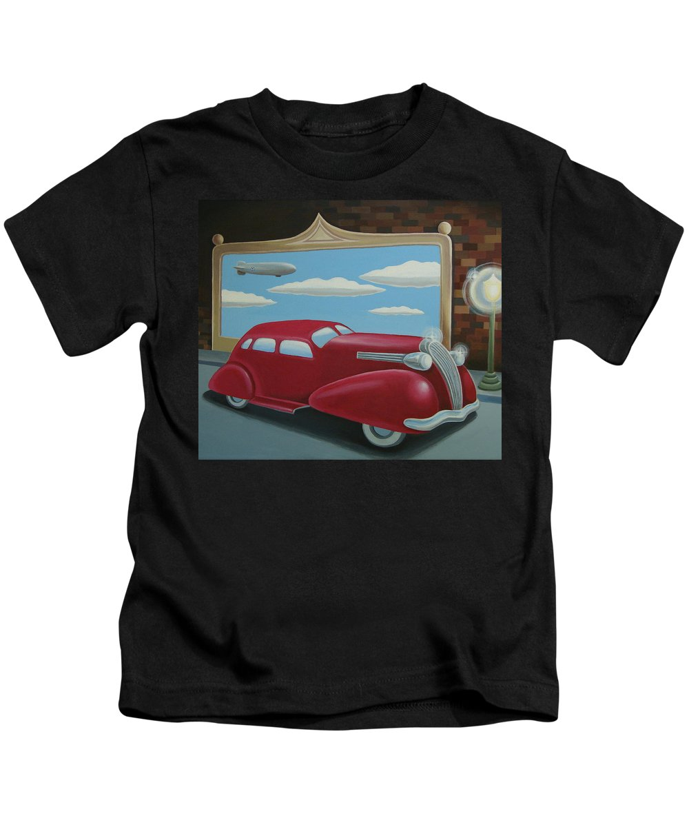 Automotive Kids T-Shirt featuring the painting Wyandotte Lasalle by Stuart Swartz