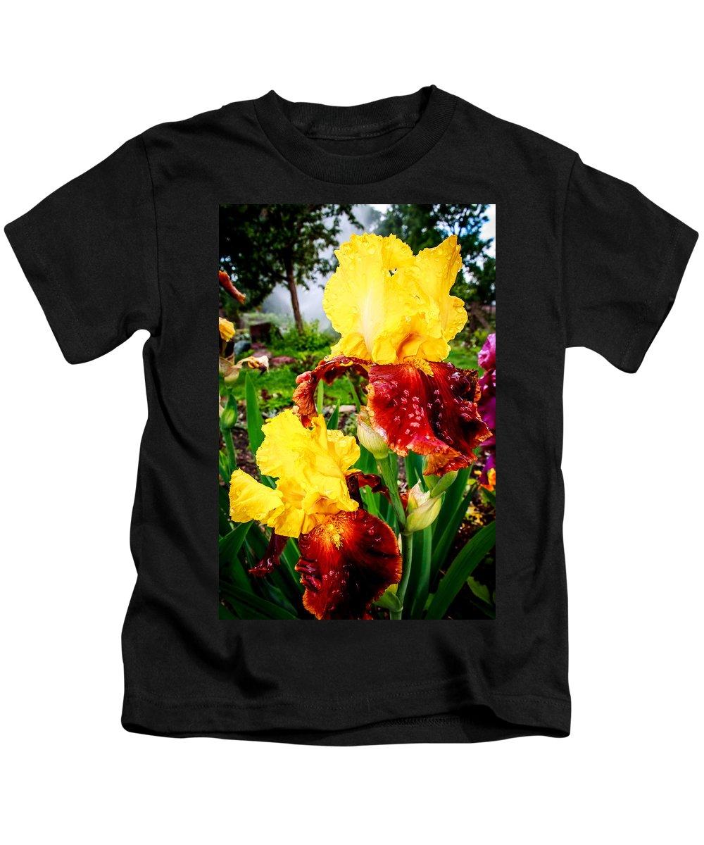 Iris Kids T-Shirt featuring the photograph Yellow And Purple Iris by John Lee