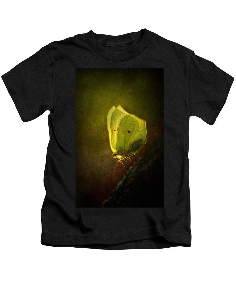 Butterfly Kids T-Shirt featuring the photograph Yellow Butterfly Sitting On The Moss by Jaroslaw Blaminsky