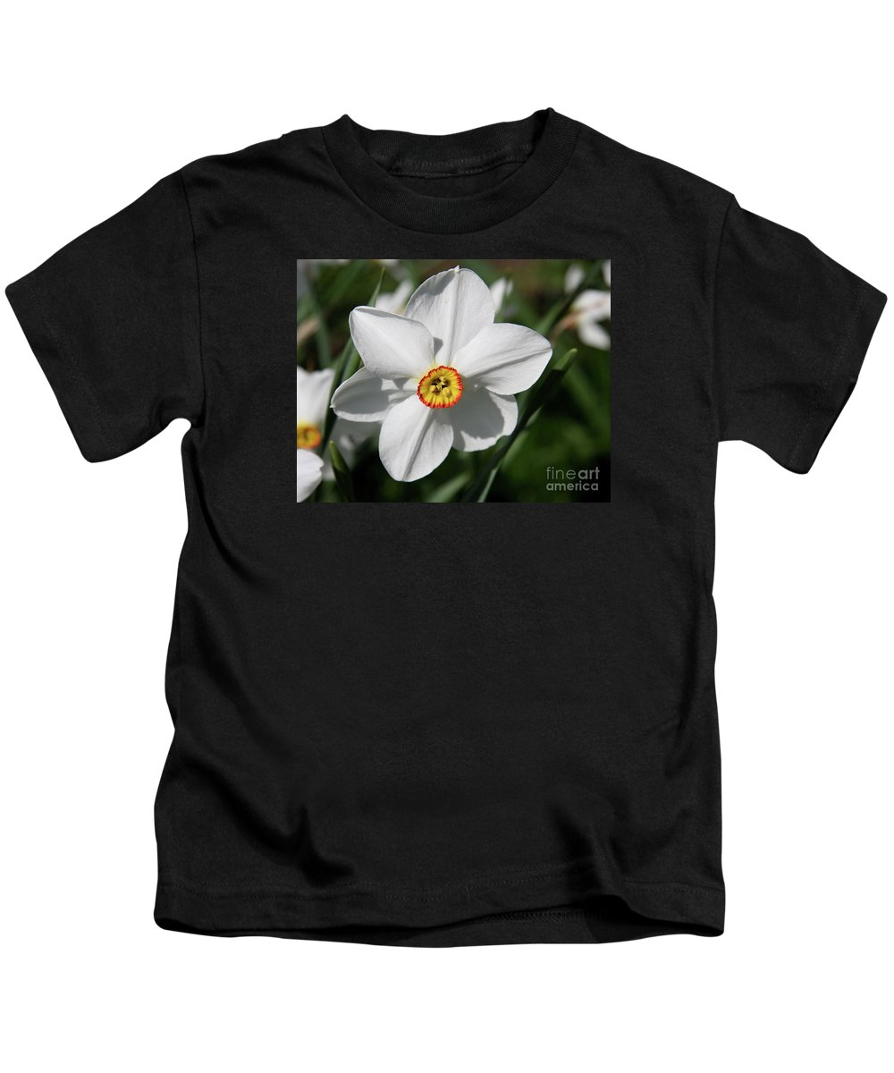 Daffodil Kids T-Shirt featuring the photograph Yellow Daffodil Heart by Christiane Schulze Art And Photography