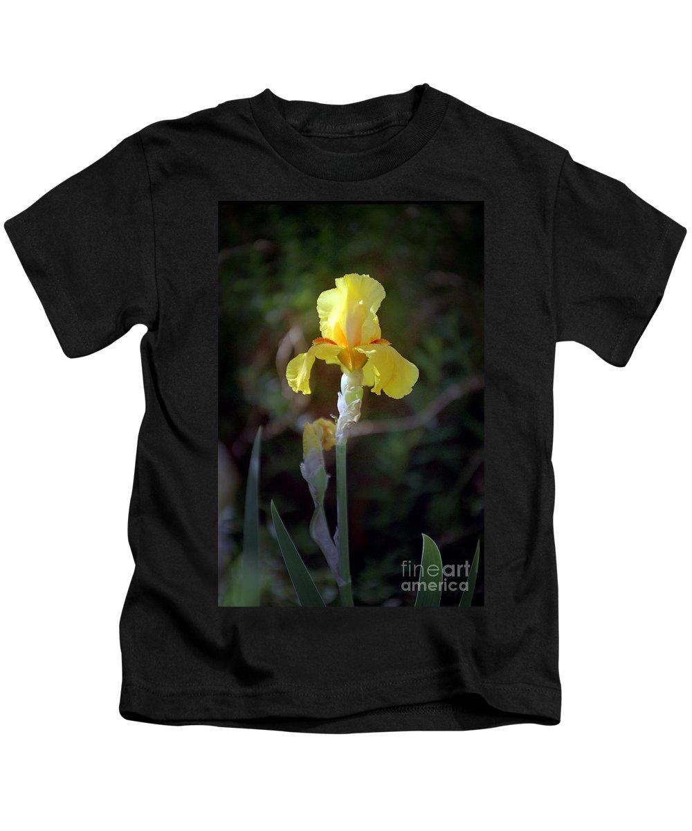 Iris Kids T-Shirt featuring the photograph Yellow Iris by Kathy McClure