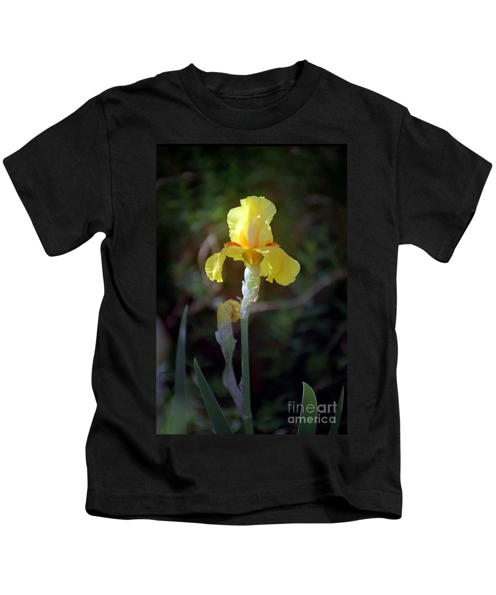 Iris Kids T-Shirt featuring the photograph Yellow Iris by Kathy McClure