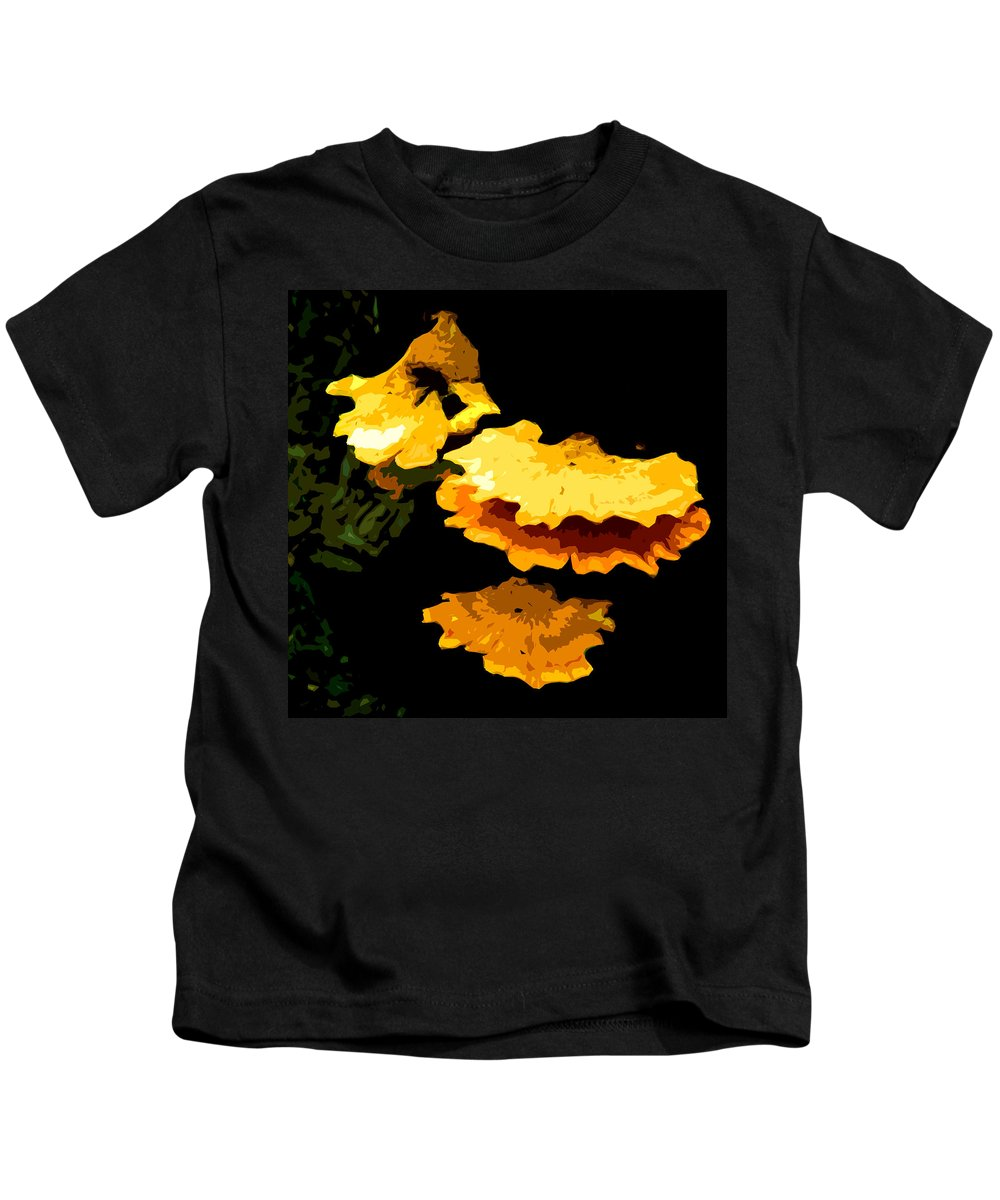 Fungus Kids T-Shirt featuring the digital art Yellow Shelves by Norman Johnson