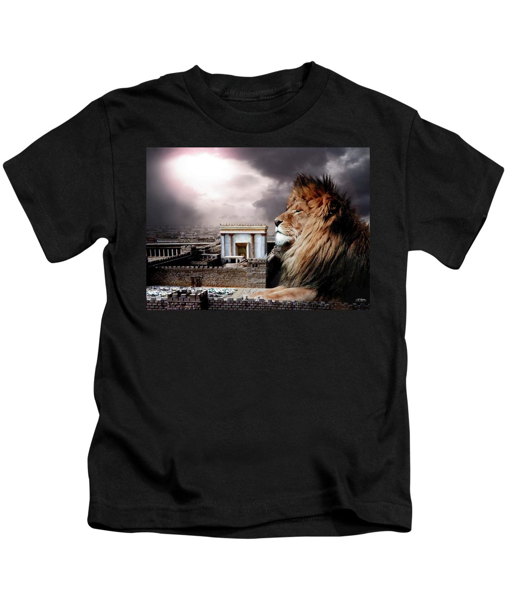Lions Kids T-Shirt featuring the digital art Yeshua In The Outer Court by Bill Stephens