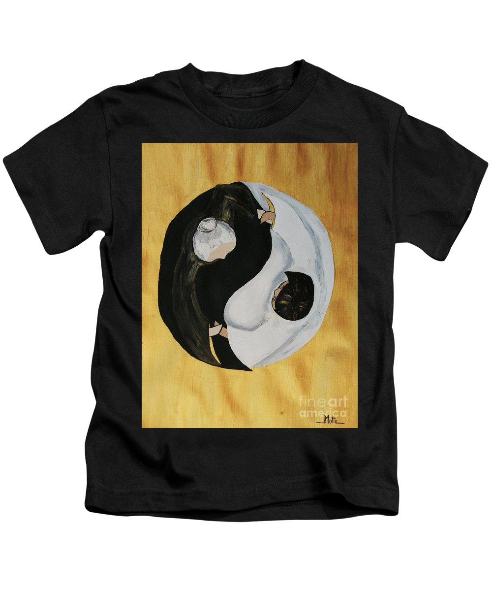 Family Kids T-Shirt featuring the painting Yin Yang Generations Hand In Hand by Cris Motta