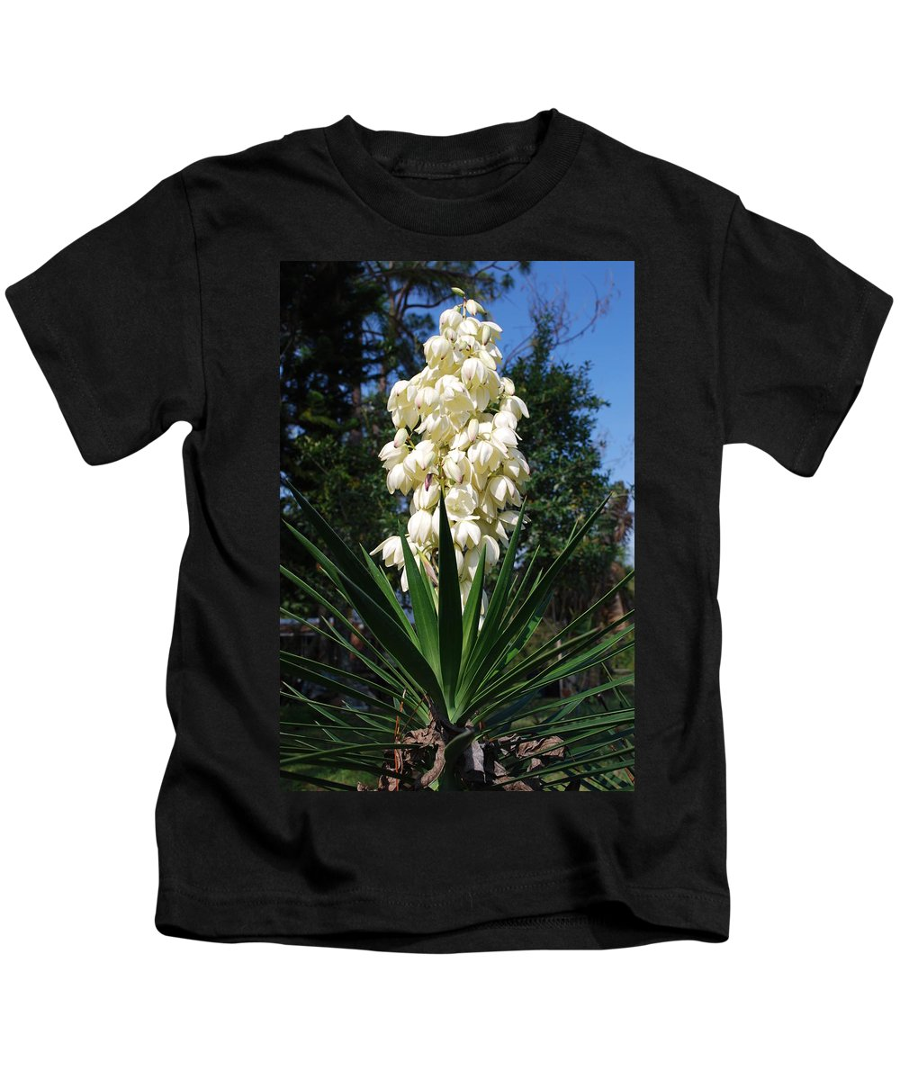 Full Bloom Kids T-Shirt featuring the photograph Yucca by Robert Floyd