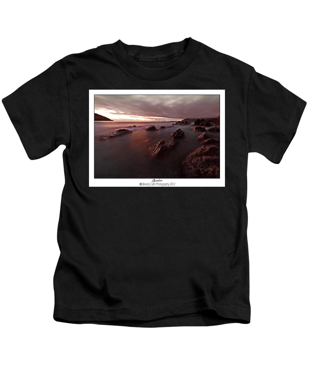 Seascape Kids T-Shirt featuring the photograph Manorbier Dusk by Beverly Cash
