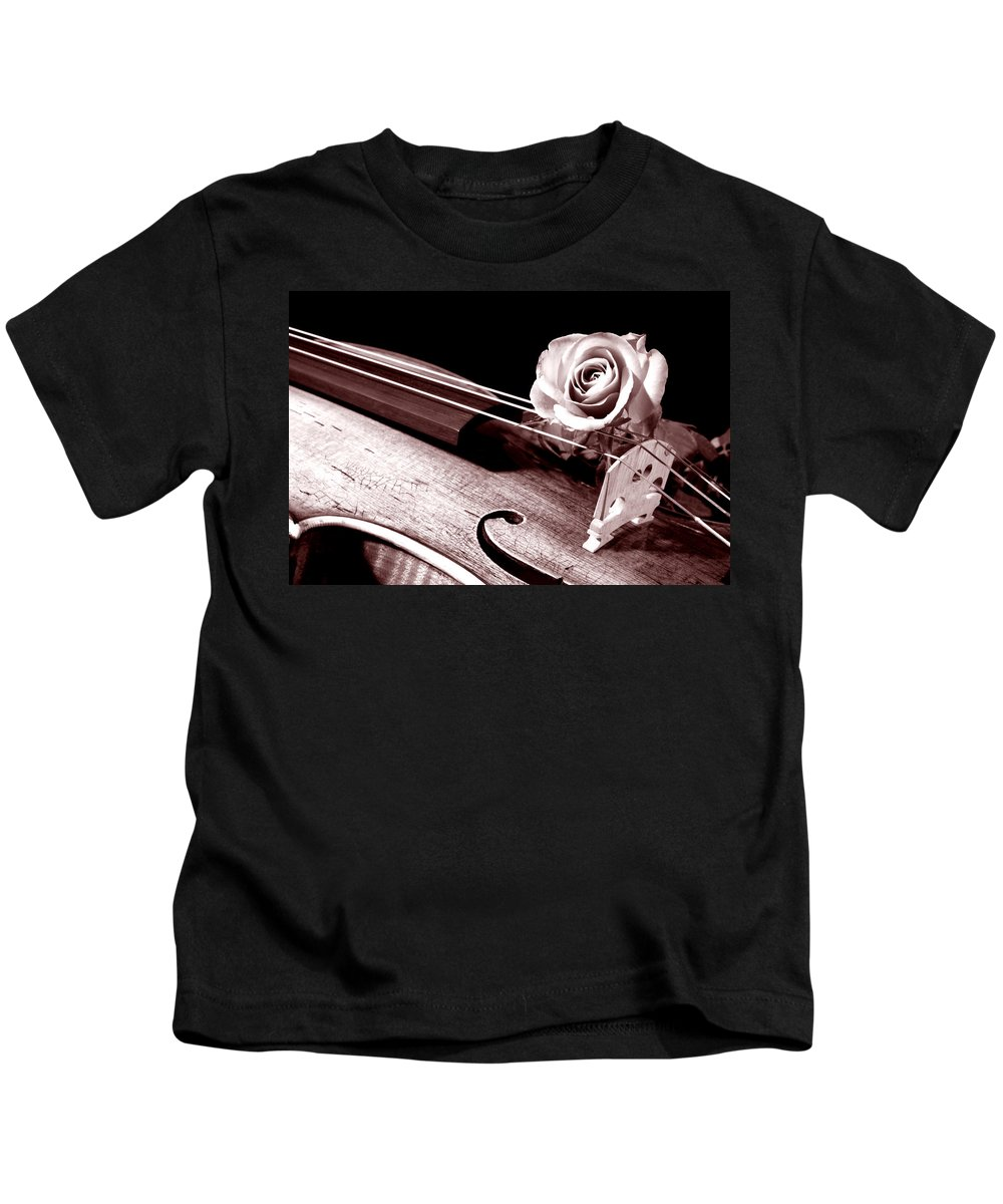 Violin Kids T-Shirt featuring the photograph Rose Violin Viola by M K Miller