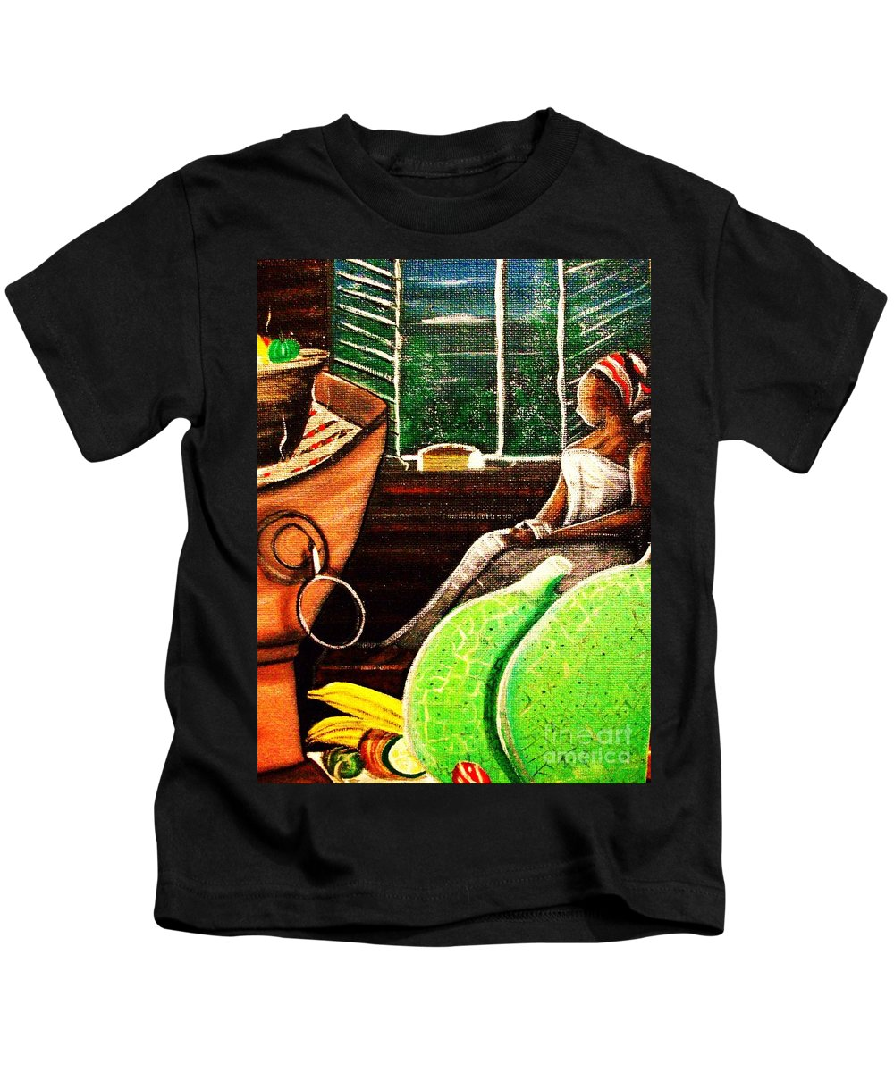 Coal Pot Kids T-Shirt featuring the painting 0ld Time Days. by Roejae Baptiste