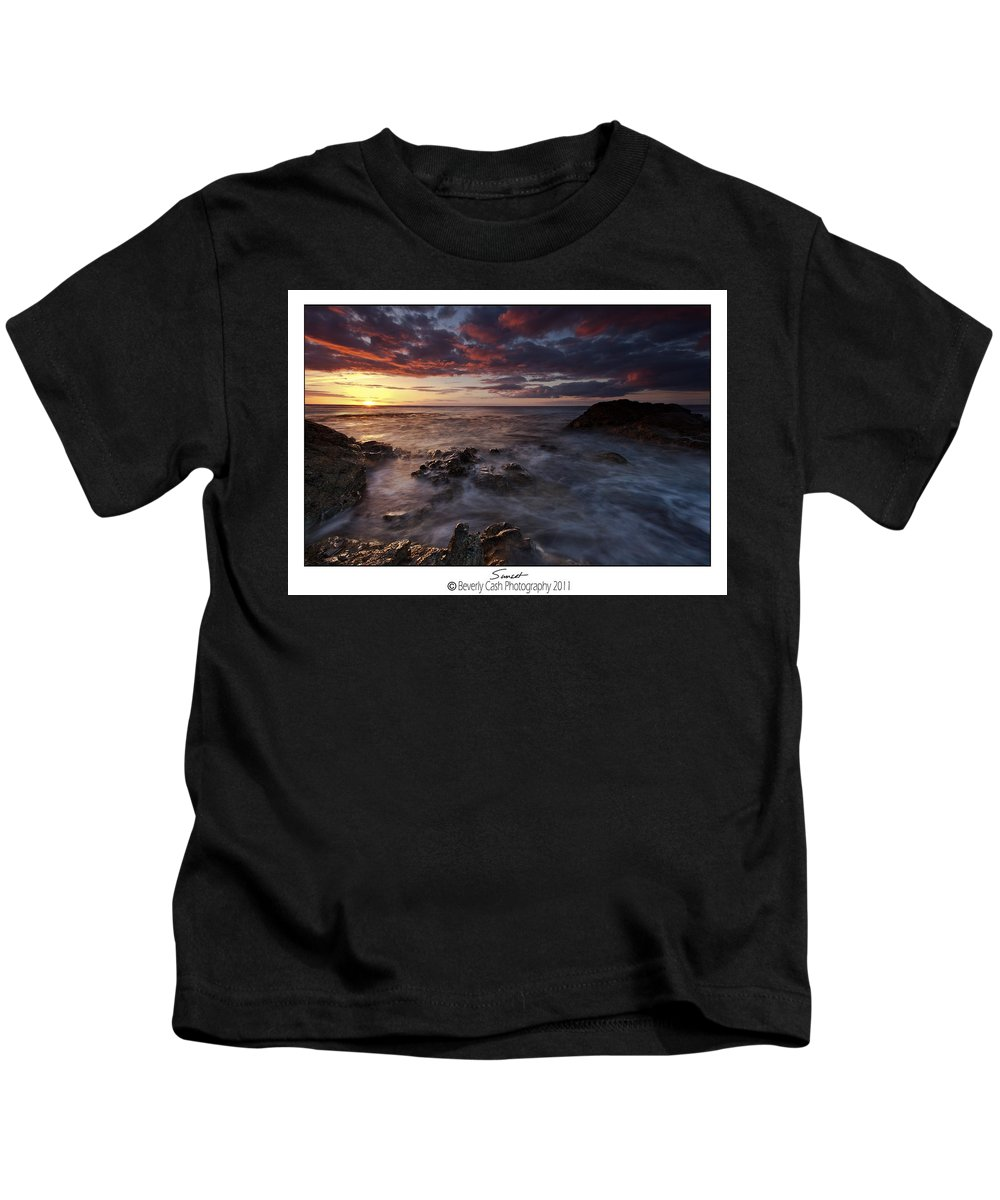 Seascape Kids T-Shirt featuring the photograph Sunset by Beverly Cash