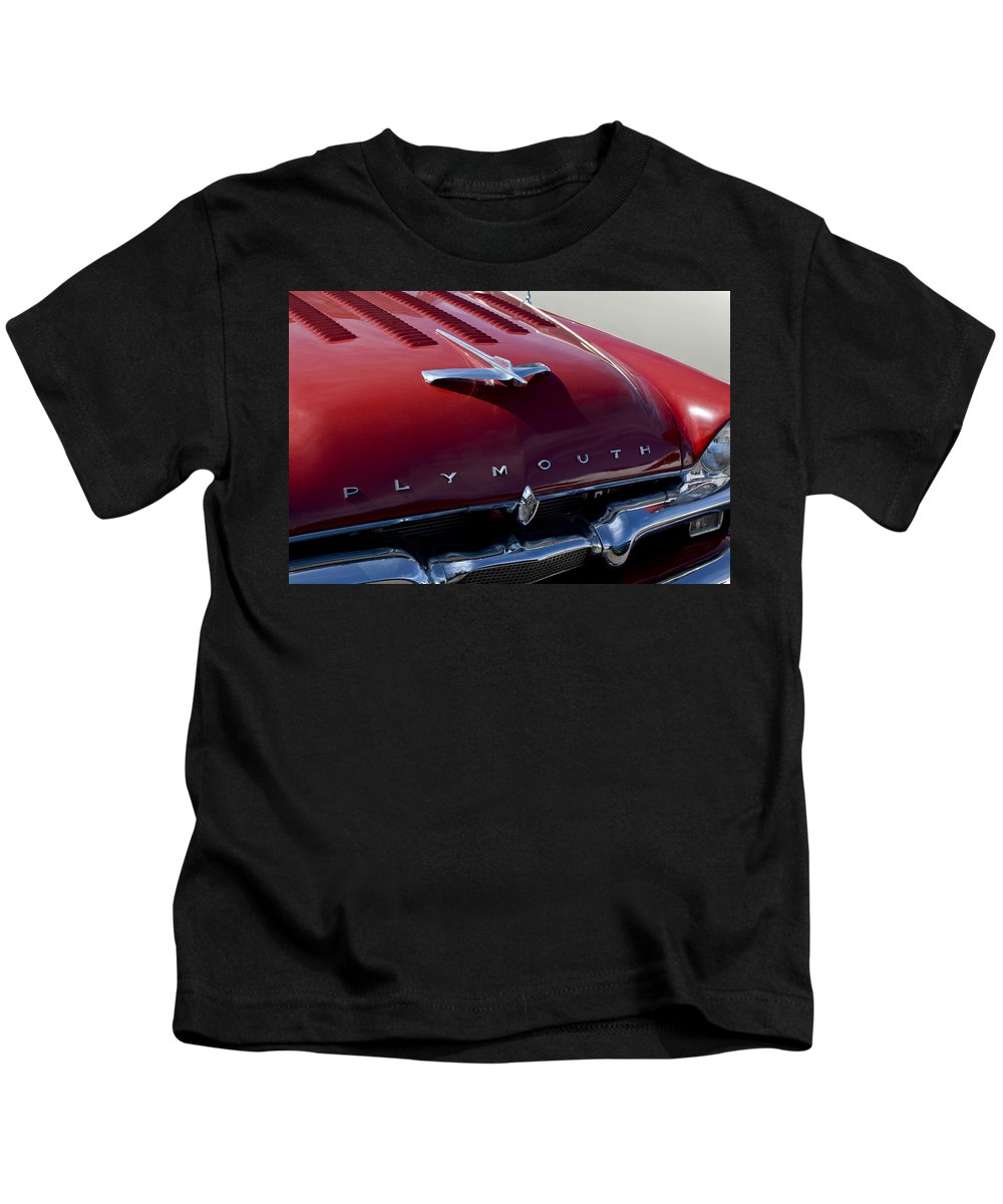 1956 Plymouth Kids T-Shirt featuring the photograph 1956 Plymouth Hood Ornament by Jill Reger