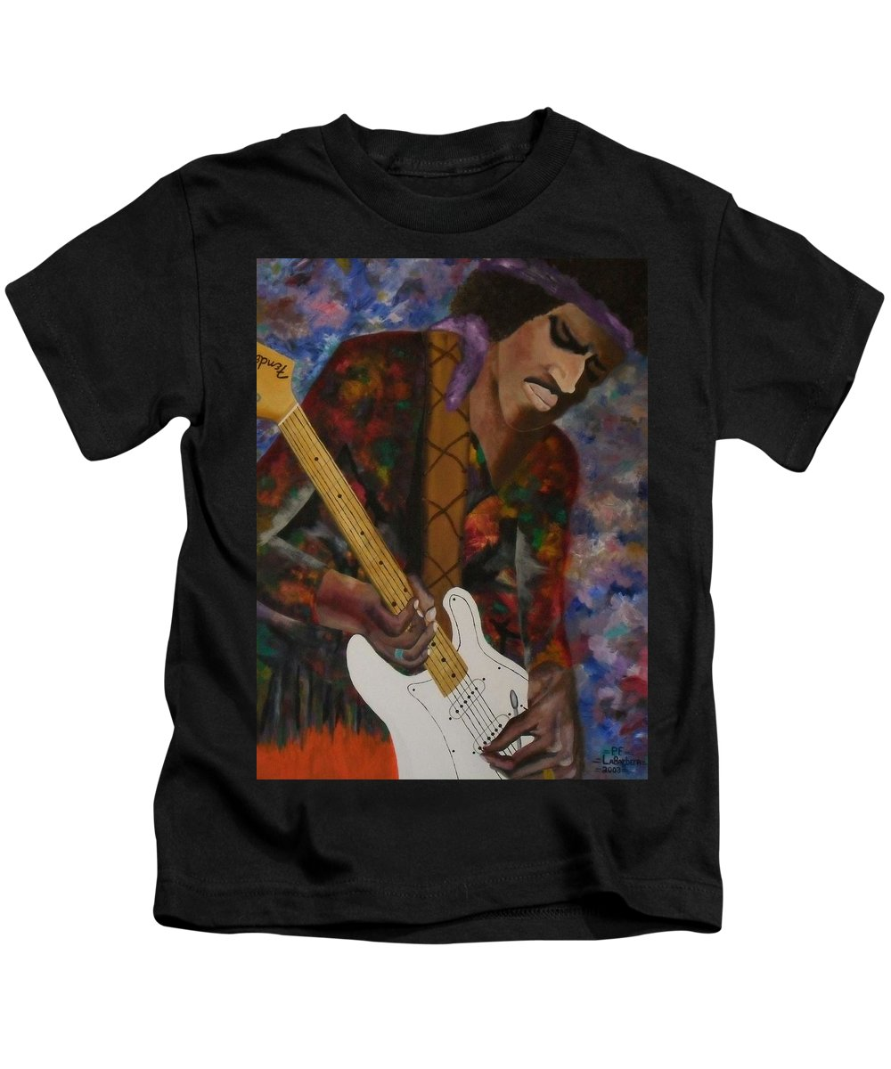 Music Kids T-Shirt featuring the painting Abstract Jimi Hendrix by Paul F Labarbera