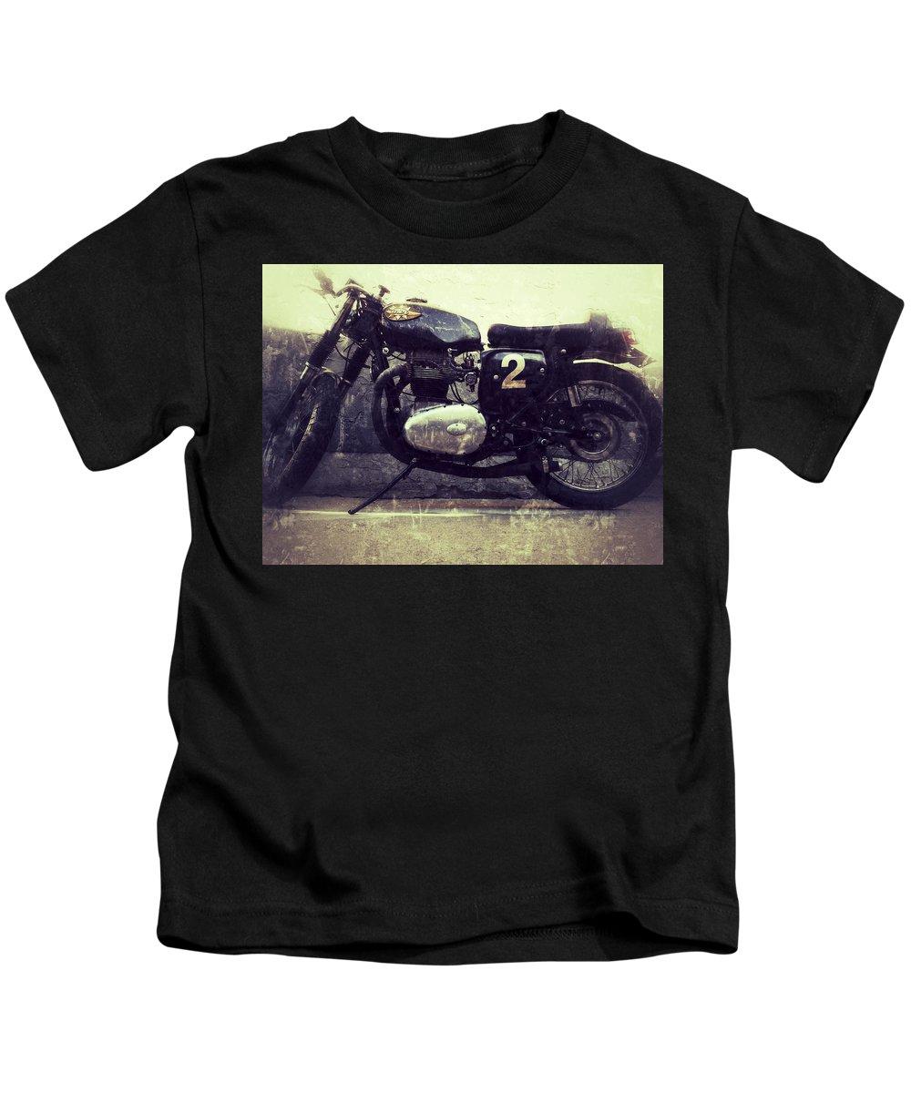 Jerry Cordeiro Photographs Framed Prints Framed Prints Photographs Kids T-Shirt featuring the photograph Bsa Motorbike by The Artist Project
