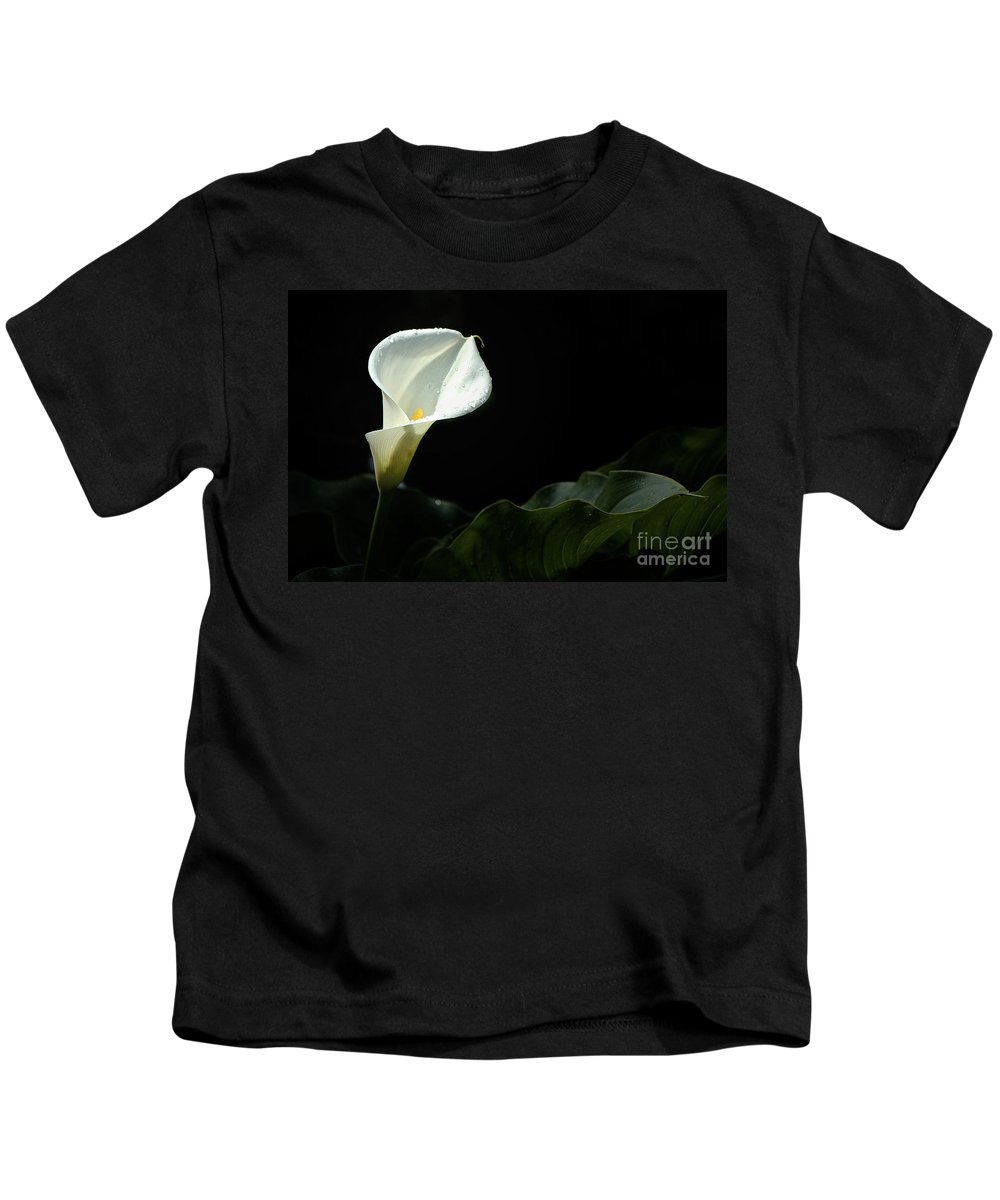 Calla Lily Kids T-Shirt featuring the photograph Calla Lily Against Black by Mike Nellums