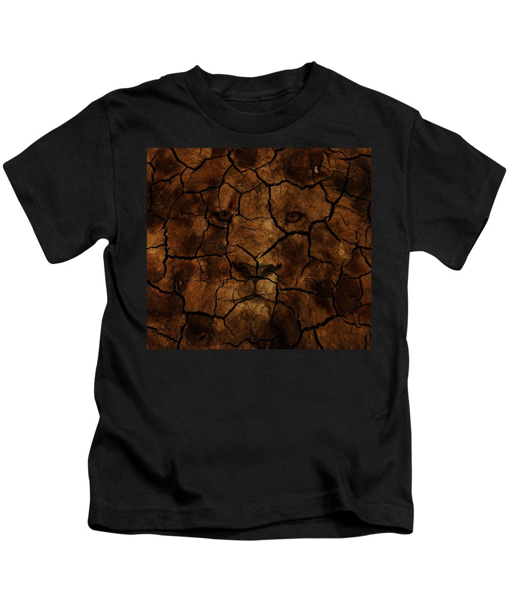 Lion Kids T-Shirt featuring the photograph Cracks Of A King by The Artist Project
