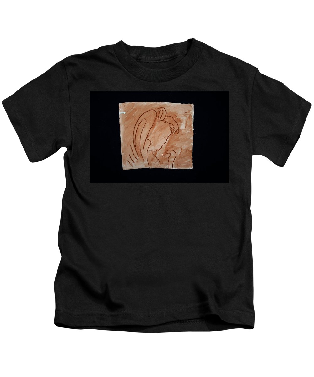 Jesus Kids T-Shirt featuring the ceramic art Divine Shepherd by Gloria Ssali